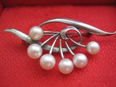 Vtg Mikimoto Sterling Silver Akoya Pearl Brooch Pin Japan Clamshell Authentic