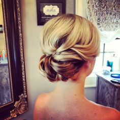 Classic wedding hair, chignon, bridal hair, ash and co charleston sc
