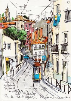 34 ideas for travel book graphism Pen And Watercolor, Watercolor Landscape, Watercolor Illustration, Watercolor Paintings, Watercolours, Cityscape Drawing, Sketch Painting, Art Sketches, Art Drawings