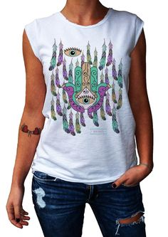 Women's T-Shirt SPIRITUAL HAND - 100% Made in Italy - 100% Cotton - BOHO COLLECTION http://www.doubleexcess.com/
