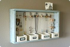 DIY Hanging Jewelry Storage Display by A Time For Everything Hanging Jewelry Organizer, Jewelry Hanger, Jewelry Organization, Jewelry Box, Organization Ideas, Vintage Jewelry, Jewelry Case, Hang Jewelry, Handmade Jewelry