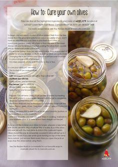 How to: Cure & Pickle your own Olives Olive Recipes, Greek Recipes, Italian Recipes, Pickled Olives, Olive Brine, Olive Harvest, Marinated Olives, Fermented Foods, Canning Recipes