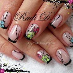 Black French With Flower – Long Nails – Long Nail Art Designs Pretty Nail Designs, Toe Nail Designs, Nail Polish Designs, Cute Nails, Pretty Nails, Gel Nagel Design, Nails Only, French Tip Nails, Flower Nail Art