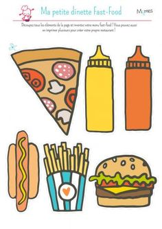 Take a look at Momes' kids's paper dinette! Create your fast-food menu: burger, scorching canine or pizza, with sauce and fries. Menu Fast Food, Pretend Kitchen, Healthy And Unhealthy Food, English Activities, Toddler Activities, Food Pyramid, Best Teacher, Types Of Food, Cute Food