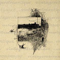 Printable Bird Scene Digital Download by VintageRetroAntique