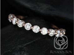 Rosados Box DIAMOND FREE Naomi 2.5mm 14kt Rose Gold Round F1 Moissanite HALFWAY Eternity Band