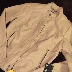 Beautiful Leather Jacket  Eye popping sand colored leather jacket. Look great with any outfit! Fall or Spring or even Winter ☃ with cute blanket scarf. Get it TODAY! Jackets & Coats