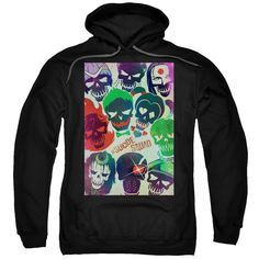 Suicide Squad Poster Adult Hoodie - Black - Officially Licensed - High Quality - 75% Cotton / 25% Polyester Blend - Premium Ringspun Cotton - Double-Needle Cuffs - Pouch Pocket