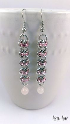 Pink and Silver Barrel Weave Chainmaille Earrings with Rose Quartz