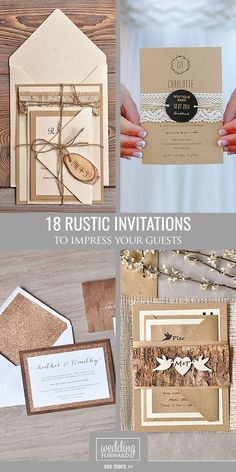 24 Rustic Wedding Invitations To Impress Your Guests ❤ Rustic wedding invitations with elements of wood, natural sprigs, kraft paper, and lace. See more: http://www.weddingforward.com/rustic-wedding-invitations/ #weddings #invitations
