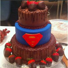 Awesome superman wedding cake from my sister in laws wedding. Love! @Stephlee1018