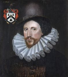 Sir Henry Palmer (c.1550-1611), Comptroller of the Navy by Marcus Gheeraerts the Younger ( Bruges 1561 – London 1635 ), dated 1586 above the coat of arms in the top left hand corner. Small plaque on a plain guilded frame / Sir Henry by Mark Gheeraets /. A half-length portrait of the Comptroller of the Navy between 1598 - 1611 in succession to Sir John Hawkyns.