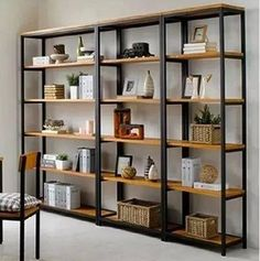 Shelf styling. Iron wood bookcase shelves layer shelf floor display racks…