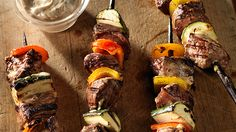 Balsamic Beef Shish Kabobs with zucchini, yellow squash, bell peppers, mushrooms & onions. Beef Shish Kabob, Beef Recipes, Cooking Recipes, Chicken Kabobs, Balsamic Beef, Different Recipes, Outdoor Cooking, Nutritious Meals, Eating Healthy
