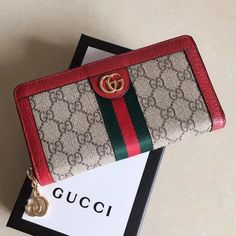 5f066951722 Gucci Ophidia GG Zip Around Wallet 523154 Red 2018