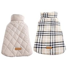 Dog Cold Weather Coats - Kuoser Cozy Waterproof Windproof Reversible British style Plaid Dog Vest Winter Coat Warm Dog Apparel for Cold Weather Dog Jacket for Small Medium Large dogs with Furry Collar XS  3XL  XL Beige -- Want to know more, click on the image. (This is an Amazon affiliate link)