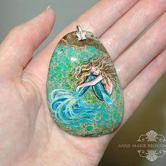 Tranquil Mermaid II Handpainted Mermaid Sea Sediment Jasper Pendant  #mermaidart #paintedpendant #mermaidartist #seajewelry #mermaidjewelry #beachart