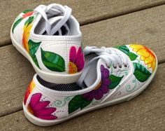 ArtworksEclectic on Etsy on Wanelo Custom Sneakers, Custom Shoes, Shoes Sneakers, Painted Canvas Shoes, Hand Painted Shoes, Converse, Vans, Tropical Art, Shoe Art