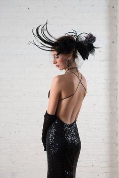 Backless black sequin alternative wedding by RetroVintageWeddings, $399.00