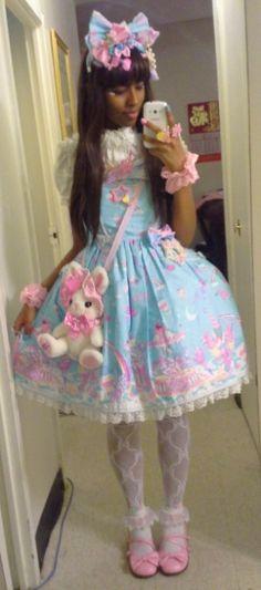 Sanriopalace milky planet pastel blue and pink sweet lolita Harajuku Fashion, Kawaii Fashion, Lolita Fashion, Visual Kei, Mode Mori, Gothic Lolita, Lolita Style, Estilo Lolita, Grunge