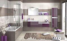 Salle de bain violette et taupe - Une salle de bain revitalisante à découvrir dans le catalogue 2014 de chez Aubade. Cette salle de bain est...