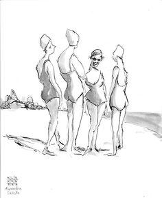 Day 2: Retro beach ladies  #inktober #inksketch #nanquim #tintachina #bathers #beachy #ilustração #swimmers #illustrazione #artebrasilia #alexandracalisto  prints and products available at society6.com/alexandracalisto