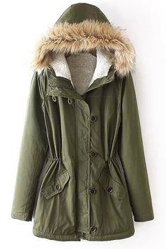 Good basic army green parkas with shearling lining.