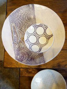 Céramique avec estampage de dentelles anciennes