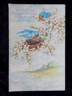 Vtg Birthday Blue Birds Flowers Greetings Postcard Victorian Poem c1918 #Birthday