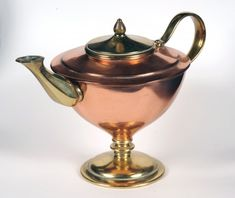 WAS Benson, c. 1890s One of the most significant and forward looking of the Arts & Crafts designers, metalworker William Arthur Smith Benson (1854 – 1924) embodied many of the most important themes of the Arts & Crafts movement. This teapot is made of copper and brass. Source: William Morris Gallery