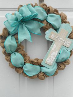 Easter burlap wreath He is Risen wreath Cross Easter wreath Christian Easter wreath Easter burlap door decor Easter decor Cross decor RTS