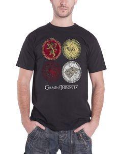 Game of Thrones House Crests 8 Lannister Stark TV Official Black Mens T-shirt