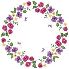 Renkli çiçekli en güzel Etamin masa örtüsü modelleri Cross Stitch Bird, Cross Stitch Borders, Cross Stitch Flowers, Cross Stitch Embroidery, Cross Stitch Patterns, Little Stitch, String Art, Diy Flowers, Trees To Plant