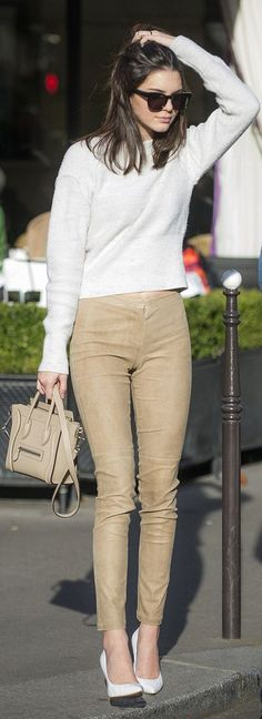 Model street style   Camel suede skinnies and white sweater