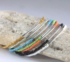 Silver Bar and Turquoise Seed Bead Bracelet Simple by TheresaRose, $10.00