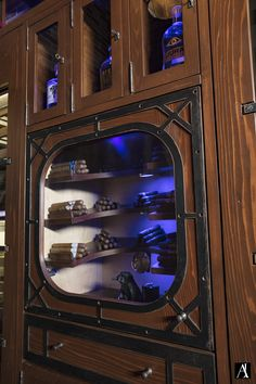 Custom built humidor and scotch lockers inside the Wine Room at the Trevarrow showroom.