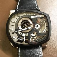 Here's something you don't see every day. A Ladoire Black Widow, created by talented jeweler and rock drummer, Lionel Ladoire. The Black Widow's assymetrical case, open dial architecture and rarity (1 of 12 in the world), appeals to collectors looking for the rarest works of craftmanship available.
