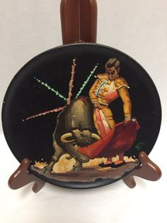 Vintage Bull Matador Fighter Wood Plate Hand Painted Wall Hanging Signed Rey Hanging Plates, Great Neck, Hand Painted Walls, Hanging Signs, Pin Up Art, Picture Frames, Vintage Items, Wall Decor, Wood