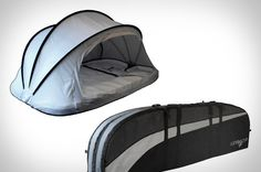 Take the idea of the surfer sleeping on the beach to its literal extreme with the Wave Cave ($260-$320). This combination surfboard case and tent can carry your boards — up to four of 'em — safely from your latest crash pad to the ocean, where you can remove the tent from its dedicated pocket, clip it to the bag, and zip your way around to create a protective shelter, while the padding that kept your boards cushioned earlier now makes for a nice place to lay your head. Note: does not protect…
