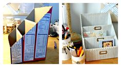 DIY - Cardboard box desk tidy. Web site not in English but no instructions needed.