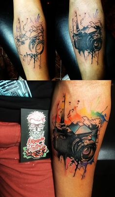 Camera watercolors tattoo  #photographertattoo #ynguyentattoo