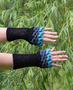 Dragon Scale Gloves Fingerless Crochet by DandoisLionDeLights