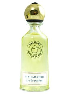 Maharanih Nicolai Parfumeur Createur perfume. opens with citruses (sweet orange oil, bitter orange zest). Heart is spicy and floral, containing rose oil, carnation and cinnamon, while the base is woody: patchouli oil and absolute, sandalwood, synthetic civet.