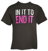 """Avon Walk IN IT TO END IT Mens Tee. The perfect way for the men in your life to show that they are IN IT TO END IT! Get one for your dad, brother, husband, or even yourself! The 2-color tagline on front has a cool """"distressed"""" look, with 1-color print on sleeve. Pre-shrunk heavyweight cotton. Color: olive"""