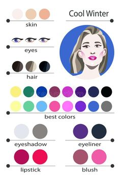 Stock vector seasonal color analysis palette for cool winter. Best makeup colors for cool winter type of female appearance. Face of young woman. - Buy this stock vector and explore similar vectors at Adobe Stock Cool Winter Color Palette, Deep Winter Colors, Soft Summer Makeup, Winter Makeup, Cool Skin Tone, Colors For Skin Tone, Color Type, Clear Winter, Dark Winter