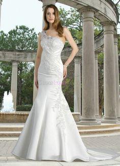 Sexy White One Shoulder Long/Floor-length Church Satin Wedding Dresses WD274D