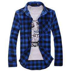 Plaid Shirts Men's Shirt Social Spring Slim Casual Long Sleeve Chemise Homme Flannel summer style Camisa Masculina MZ162