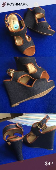HP 1/18 🎉🍩 Guess Jean Denim Classic Wedges ✨ True to size and never worn before. Thank for taking a look! 😇 Guess Shoes Wedges