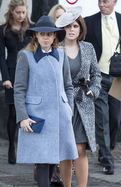 Stylish sisters: With Beatrice, 26, was Eugenie, 24, who was elegant in a pared-down charc...
