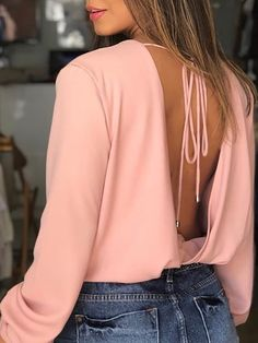 Blusa casual con espalda descubierta y cuello vuelto Hipster Outfits, Casual Outfits, Kinds Of Clothes, Clothes For Women, Split Prom Dresses, Daily Dress, Womens Fashion Online, Business Attire, Blouse Designs
